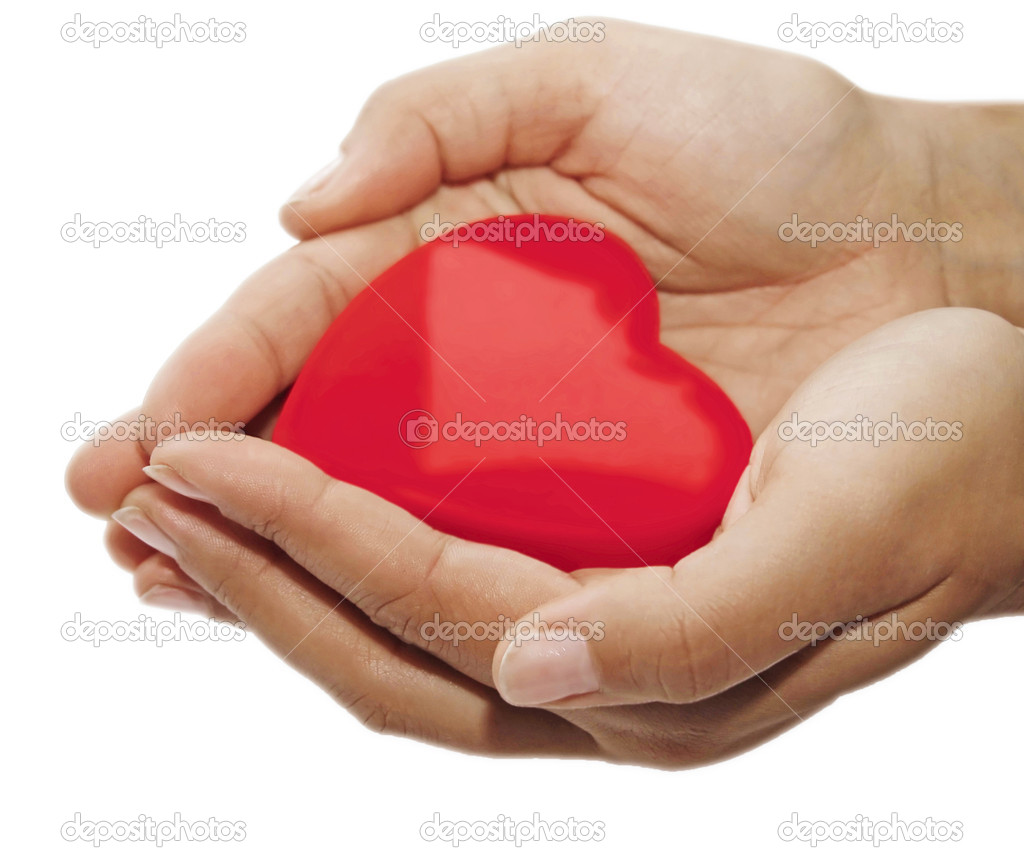 Red heart on the woman's hands — Foto Stock #2301163