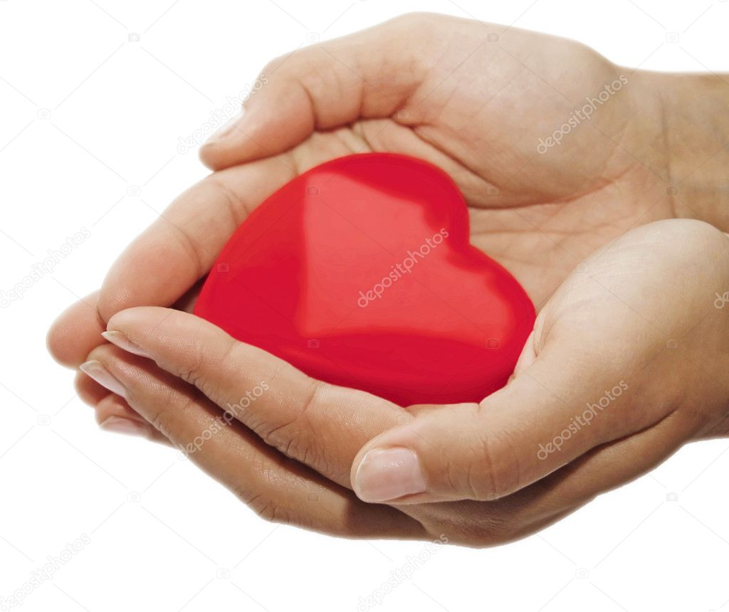 Red heart on the woman's hands — Foto de Stock   #2301163