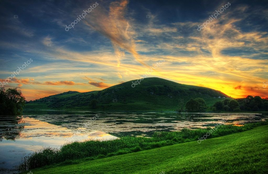 Lough Gur - irish lake in summer - HDR at sunset  Stock Photo #2301228