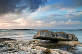 Burren stone at sunset — Stock Photo