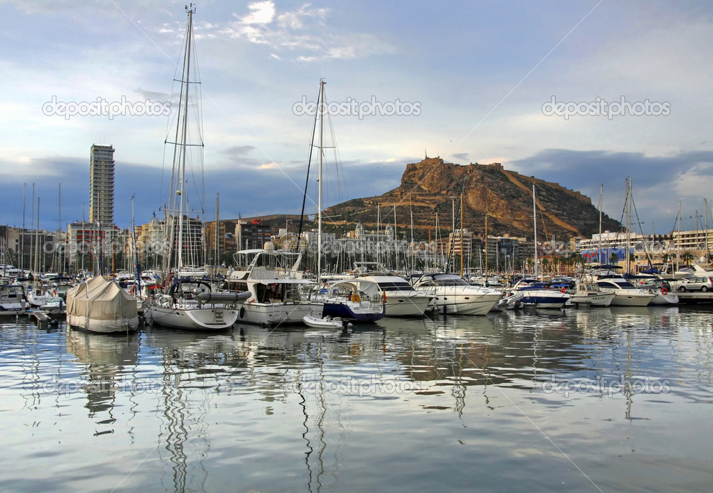 Alicante city in Spain reflection in harbor — Stock Photo #2445083