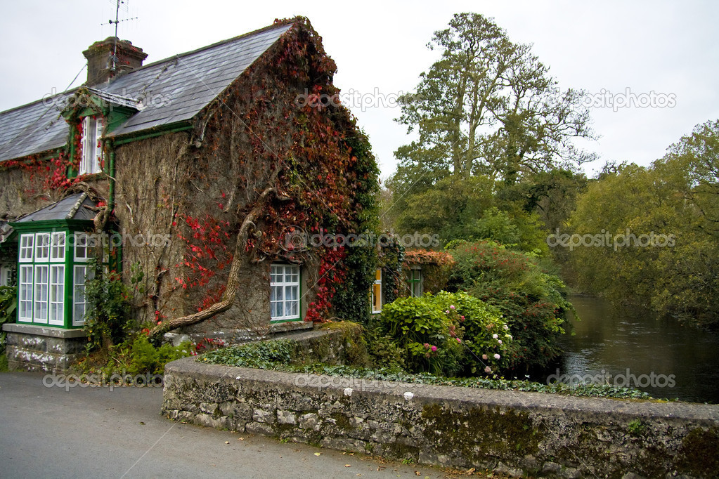 Cottage house in Cong village - Co. Mayo - Ireland  Stock Photo #2459332