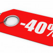 40% Off Price Tag - Stock Photo