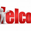 Person showing welcome - Stock Photo