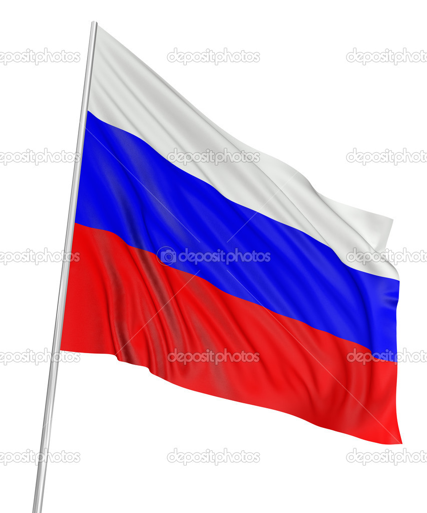 3d russian flag with fabric surface texture. white background