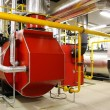 Gas boilers in gas boiler room — Stock Photo