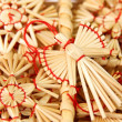 Christmas decorations from straw - Stock Photo
