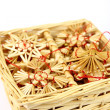 Box and Christmas decorations from straw - Stock Photo