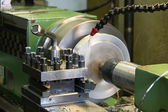Milling and machining of material to lathe — Stock Photo