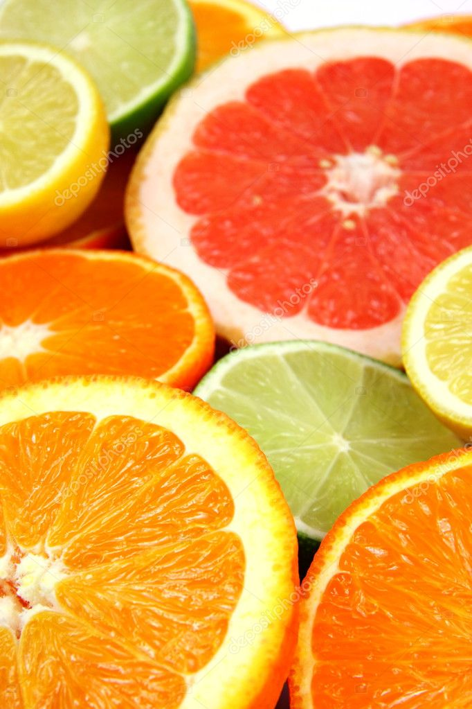 Colorful Citrus Fruits, oranges, grapefruit, lime, lemon — Stock Photo #2410591