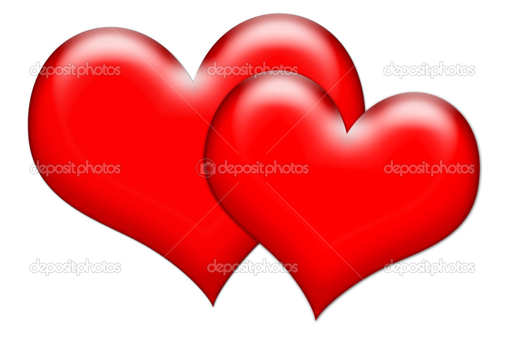 Glossy hearts of love illustration isolated over white background   Stock Photo #2311052