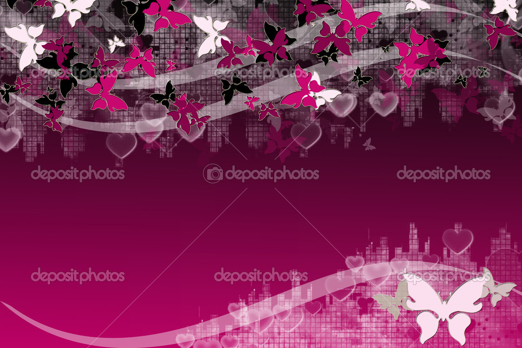 Valentines Day background with butterflies, hearts and wave pattern, element for design   Stock Photo #2311335