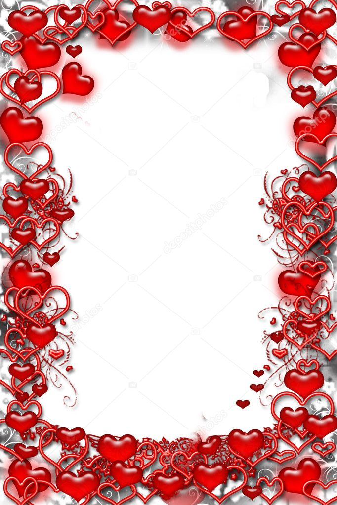 Romantic Love Frame with Red Hearts and Blank White Background  — Stock Photo #2339127