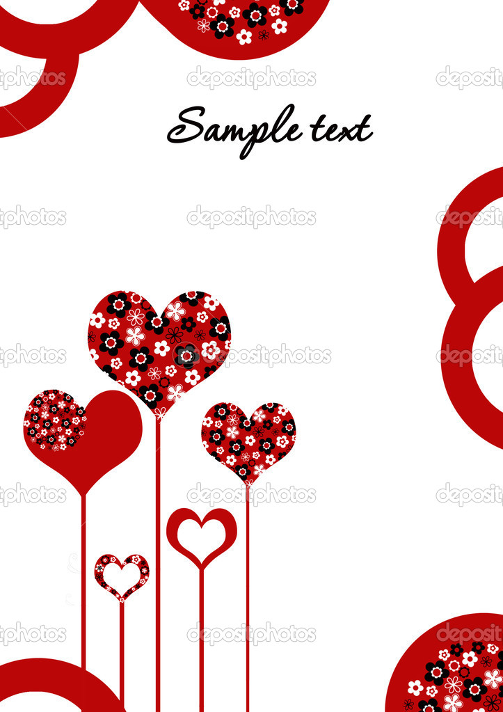 Vector illustration of love card with flowers,  hearts  and space for text  Stock Photo #2523341