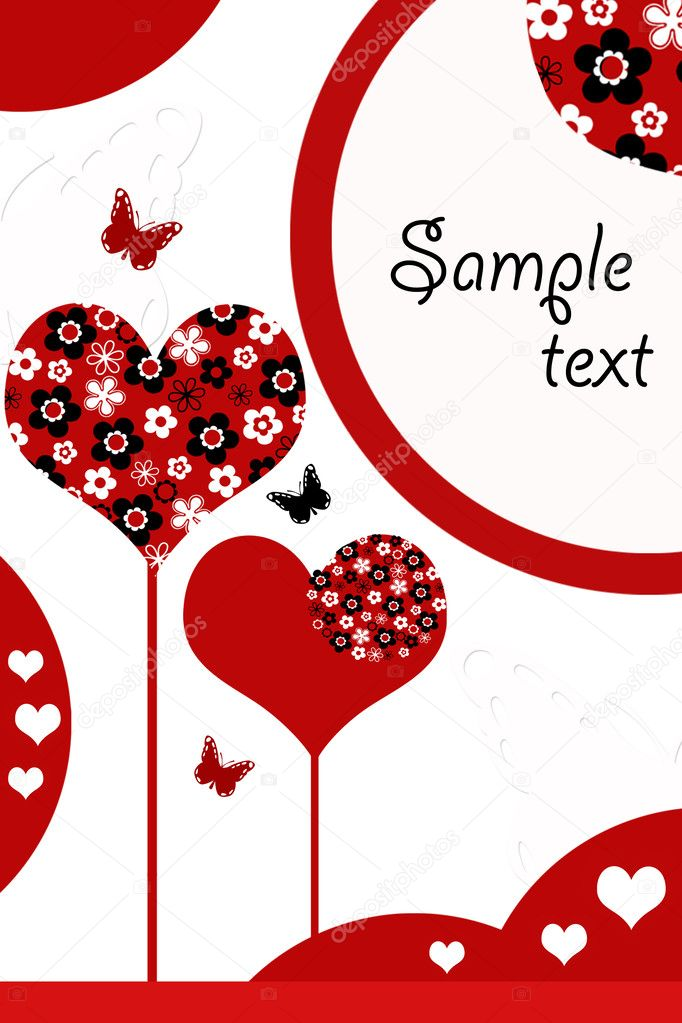 Vector illustration of love card with hearts  — Stock Photo #2574279