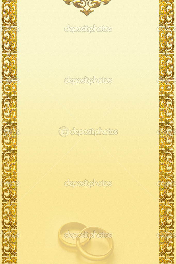 Decorative golden border 2D art with weddings rings border wedding wallpaper