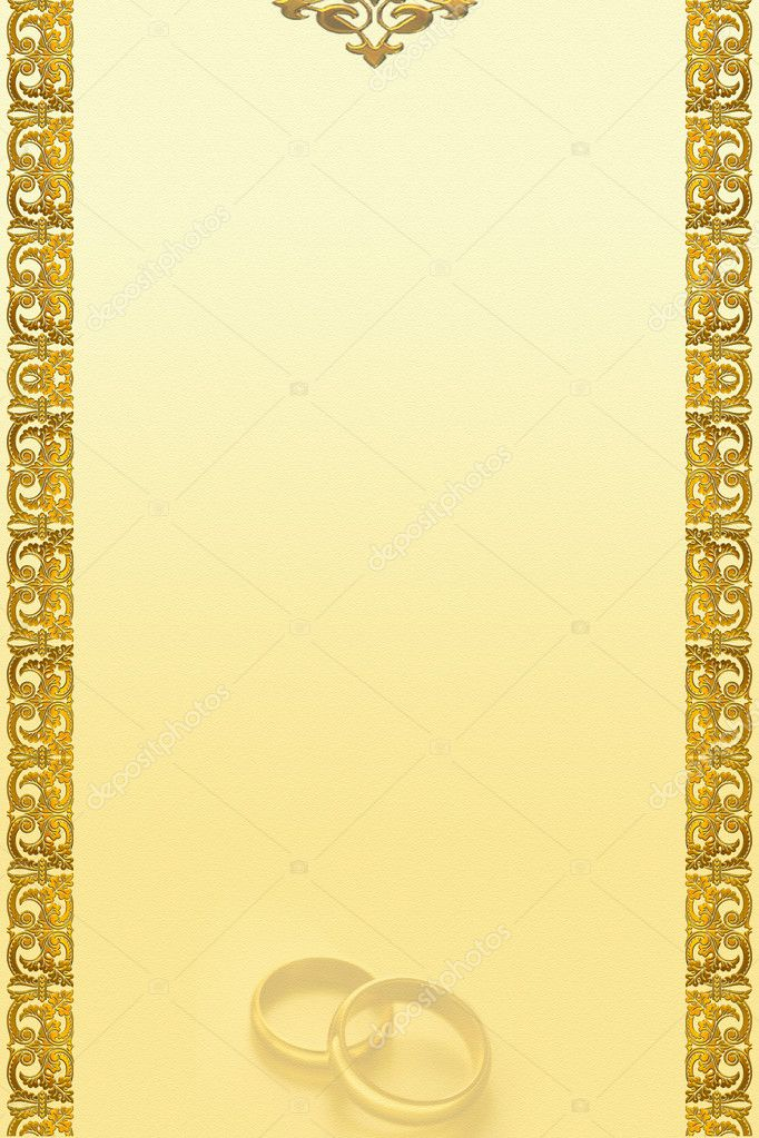Decorative golden border 2D art with weddings rings