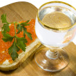 Sandwich with caviar and vodka - Stok fotoraf