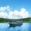 Sea landscape with yacht — Stock Photo