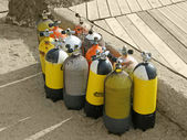 Oxygen bottle equipment for diving — Stock Photo