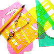 Set instruments for geometric drawings — Stock Photo