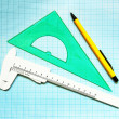 Set instruments for geometric drawings — Stockfoto