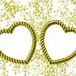 Gold heart-shaped frame on an organza — Stock Photo #2331902