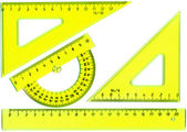 Straightedge, protractor, triangle — Zdjęcie stockowe