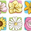 Flower Icon Set — Stock Vector