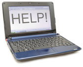 """A laptop with a word """"Help"""" — Stock Photo"""