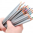 Two hands holding colored pencils — Stock Photo #2407356