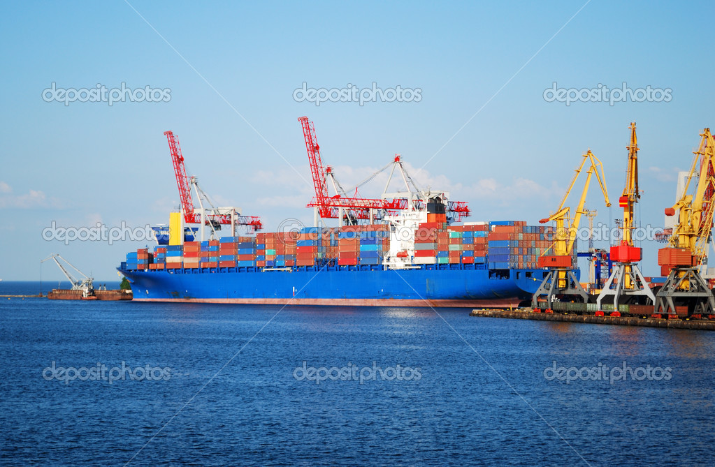 Cargo ship on loading in the port — Stock Photo #2449338