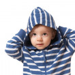 Baby in hood with hands up — Stock Photo