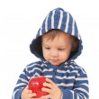 Stock Photo: Amazed baby with red apple