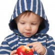 Amazed baby with red apple — Stock Photo #2257790