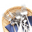 Stock Photo: Forks in woven basket
