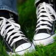 Pair of sneakers in green grass — Stock Photo #2259915