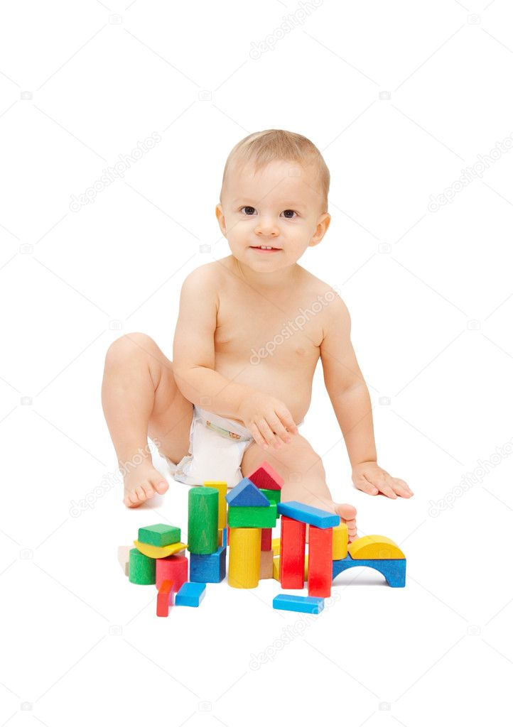 Baby playing with color blocks — Stock Photo #2258540