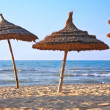 Stockfoto: Thatched sunshades on beach