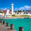 Lighthouses in Puerto Morelos, Mexico - Stock Photo