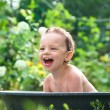Outdoor baby bathing — Stock Photo