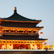 Stock Photo: Bell Tower at night in Xian, China