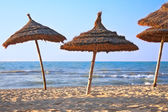 Thatched sunshades on the beach — Stock Photo