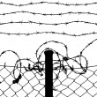 Wired fence with barbed wires - Stock vektor