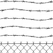 Stock Vector: Wired fence with five barbed wires