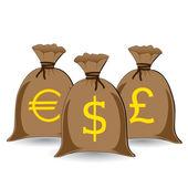 Vector of three full money sacks — Stock Vector