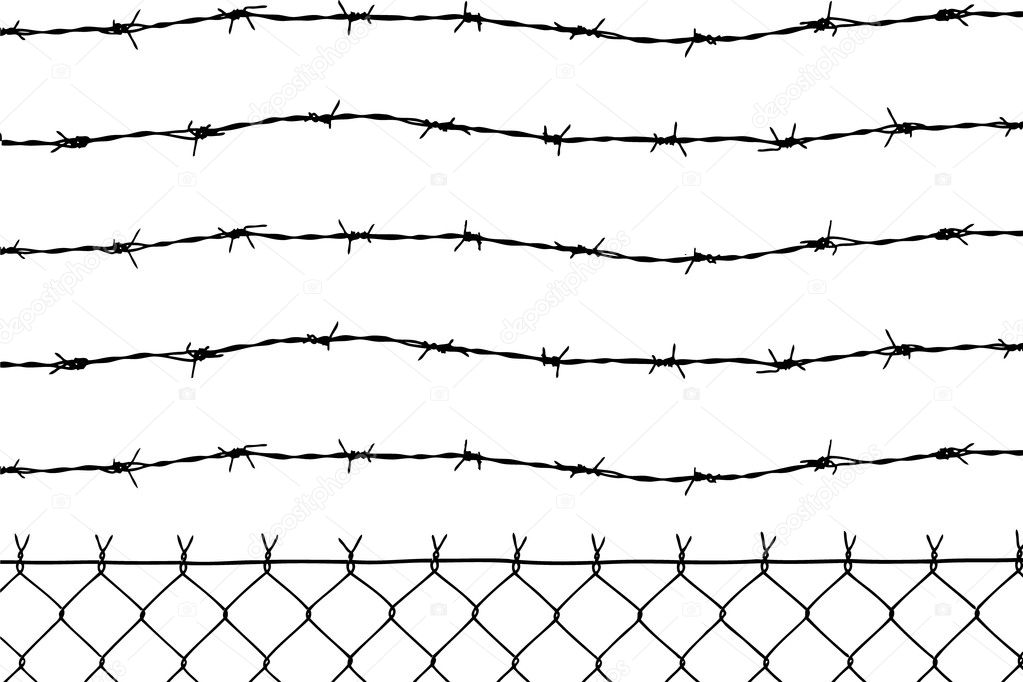 Wired fence with five barbed wires — Stock Vector #2275880