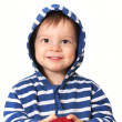 Stock Photo: Laughing baby with red apple