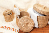 Woven baskets with bath accessories — Stock Photo