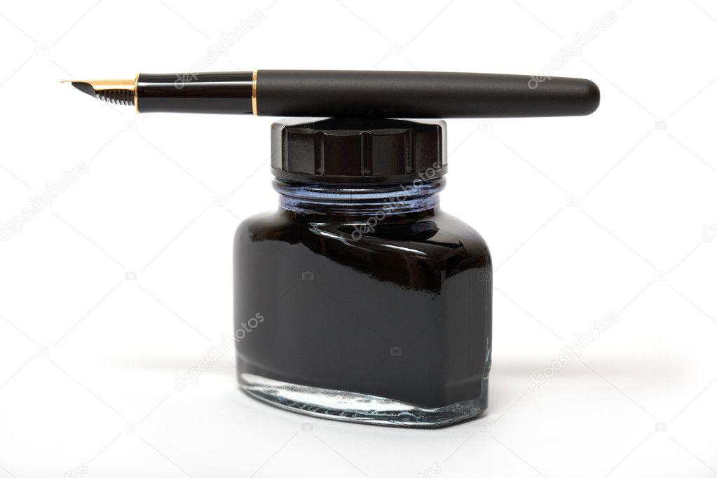 fountain pen on the ink bottle stock photo zhuzhu 2433542. Black Bedroom Furniture Sets. Home Design Ideas